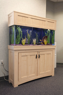 Mission Style Maple Aquarium - commercial aquarium sales and fish tank services