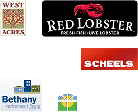 Our Fargo aquarium services clients - West Acres, Red Lobster, Scheels, Bethany retirement